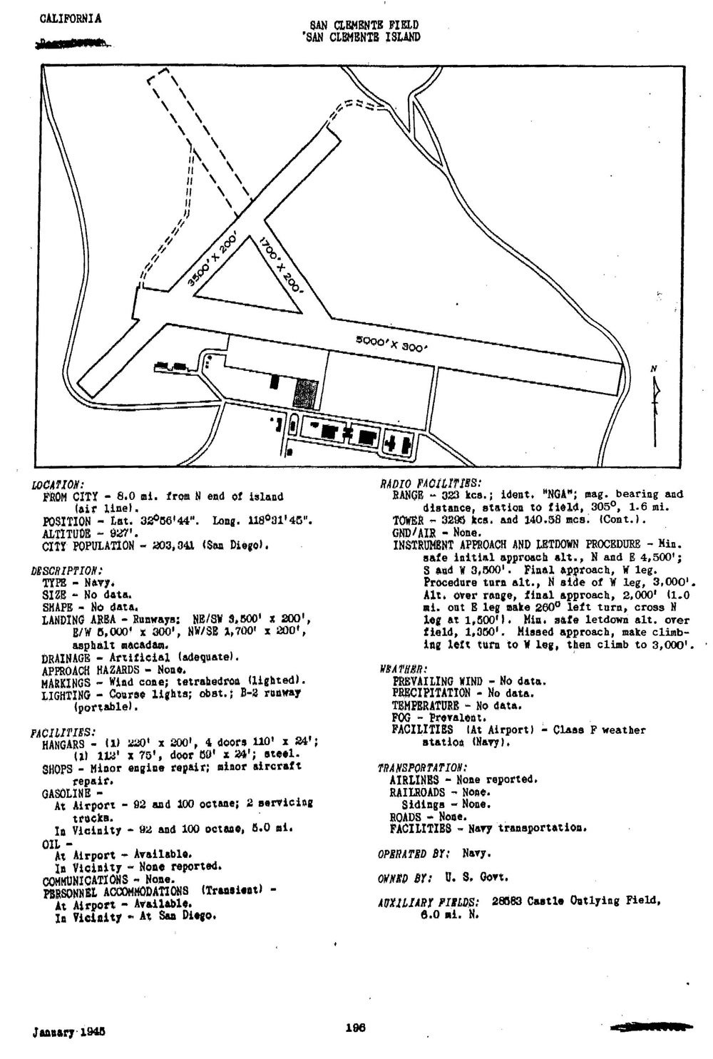 Extract Us Army Air Forces Airfield Directory January 1945