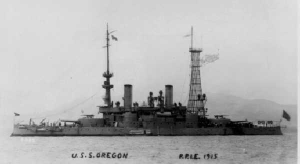 USS Oregon, BB-3, Flagship of the California Naval Militia, 1915.